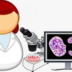 顕微鏡で細胞を調べているイラスト